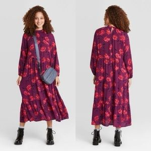 A new day purple floral long sleeve tiered dress M